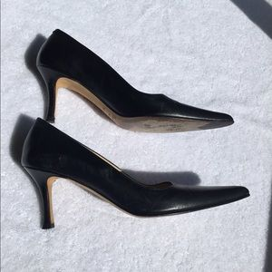 Faconnable Shoes - Façonnable Black Leather 3 inch Heel 7.5 Narrow